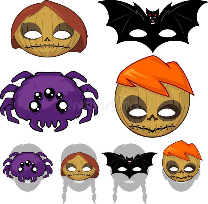 Halloweenowe potwór maski royalty ilustracja