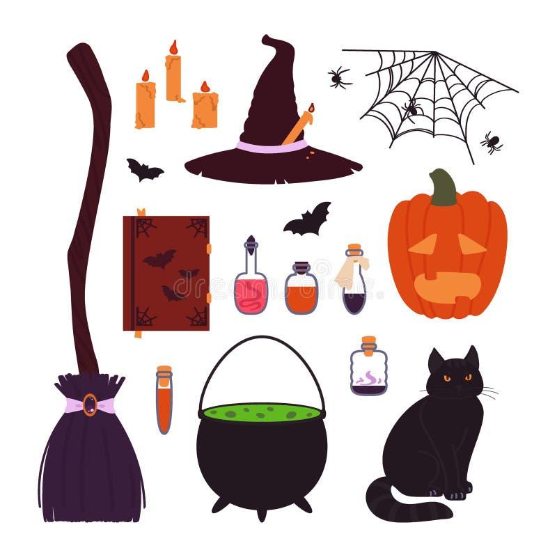 Halloweenowe rzeczy ustawiać odizolowywać na białym tle Wektorowa ilustracja w kresk?wce royalty ilustracja