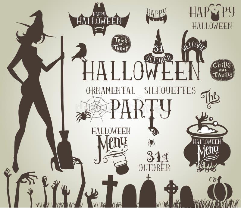 Halloweenowe sylwetki dla wystroju royalty ilustracja