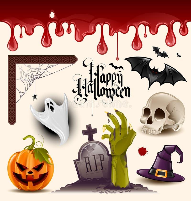 Halloweenowe wektorowe ikony royalty ilustracja
