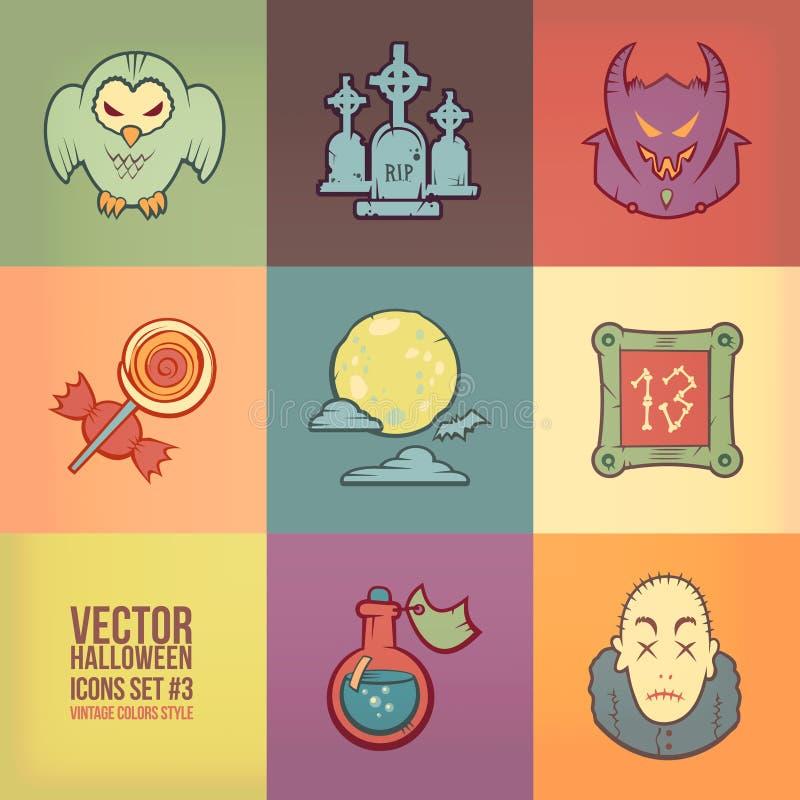 Halloweenowe Wektorowe ikony Ustawiać ilustracja wektor