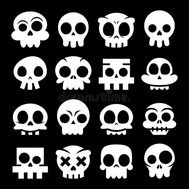 Halloweenowe Wektorowe kreskówki czaszki ikony, Meksykański Biały Śliczny Cukrowy czaszka projekta set ilustracji