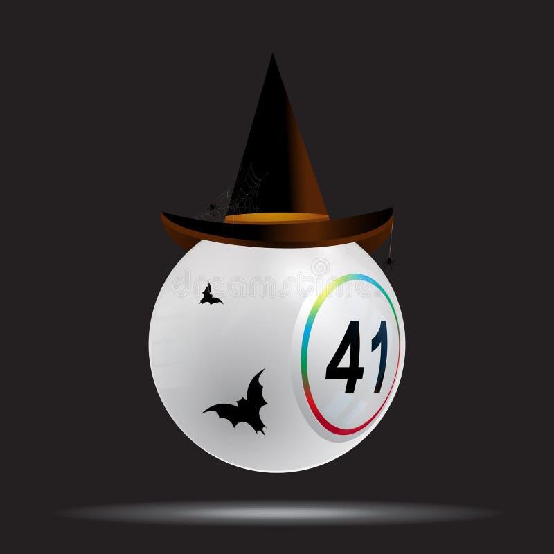 Halloweenowego białego bingo loteryjna piłka na czerni ilustracji