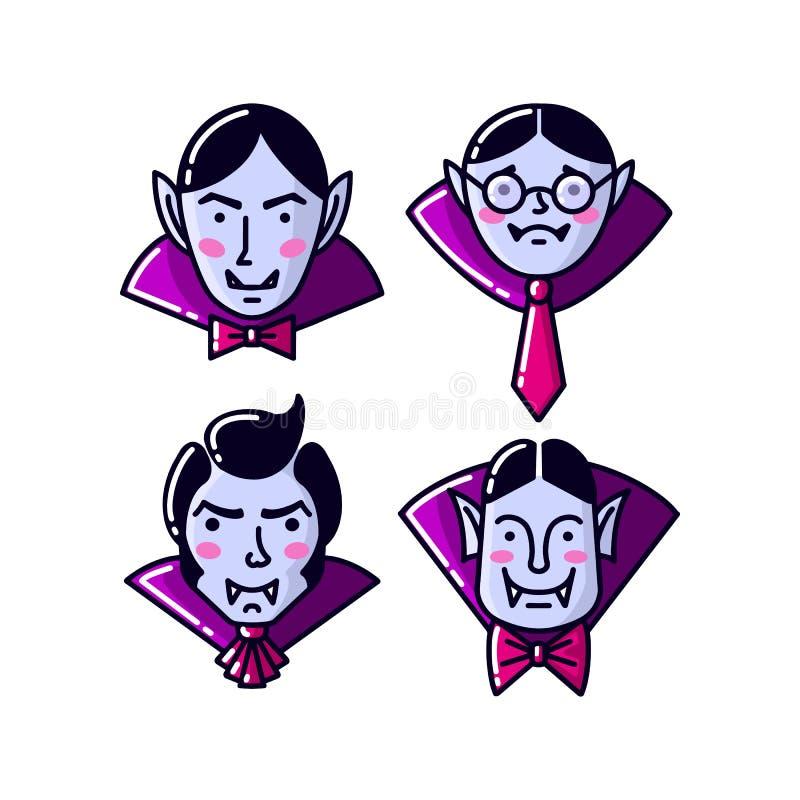 Halloweenowego charakteru Dracula wampira p?aski kreskowy styl Wektorowa ilustracja m??czyzny wampira ikona odizolowywaj?ca ilustracji