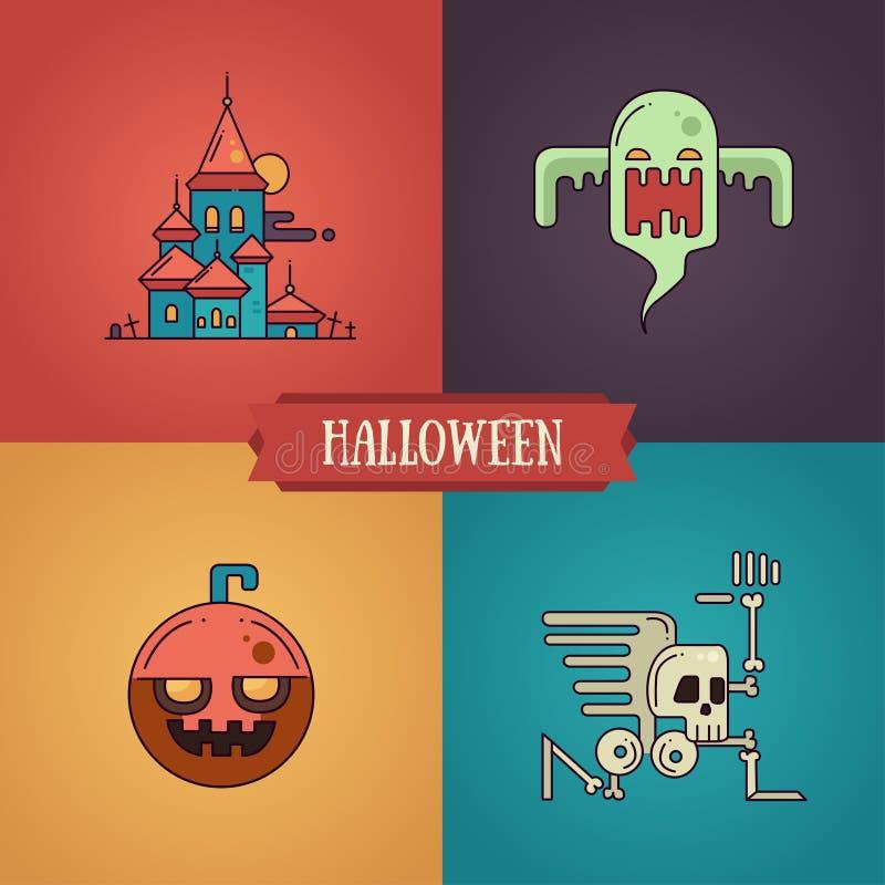 Halloweenowego charakteru kreskowego płaskiego projekta nowożytne ikony ustawiać royalty ilustracja