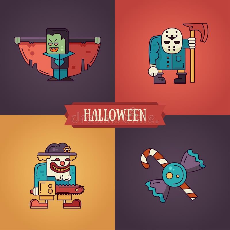 Halloweenowego charakteru kreskowego płaskiego projekta nowożytne ikony ustawiać ilustracji