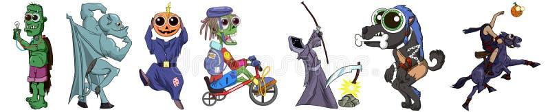 Halloweenowego clipart wilkołaka Bezgłowego jeźdza garguleca ponurej żniwiarki śmiertelnego żywego trupu Frankenstein dyniowy cli royalty ilustracja