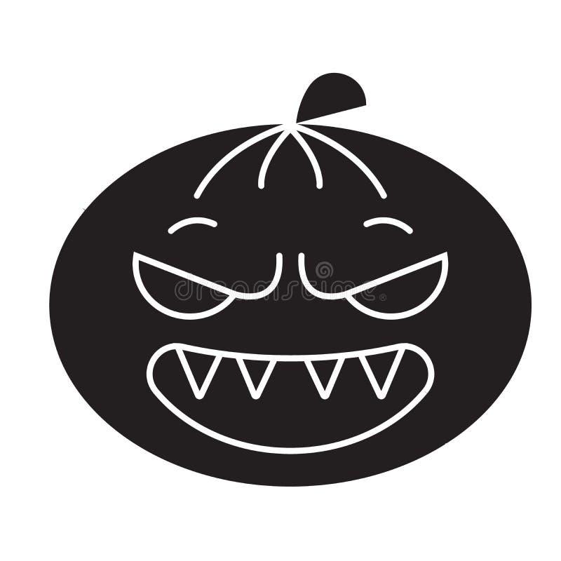 Halloweenowego emoji czerni pojęcia wektorowa ikona Halloweenowego emoji płaska ilustracja, znak royalty ilustracja