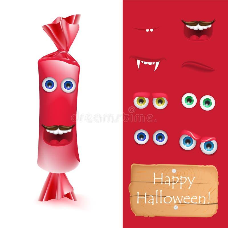 Halloweenowego emoji twarzy charakteru cukierku żywy potwór dla twój scena szablonu ilustracji