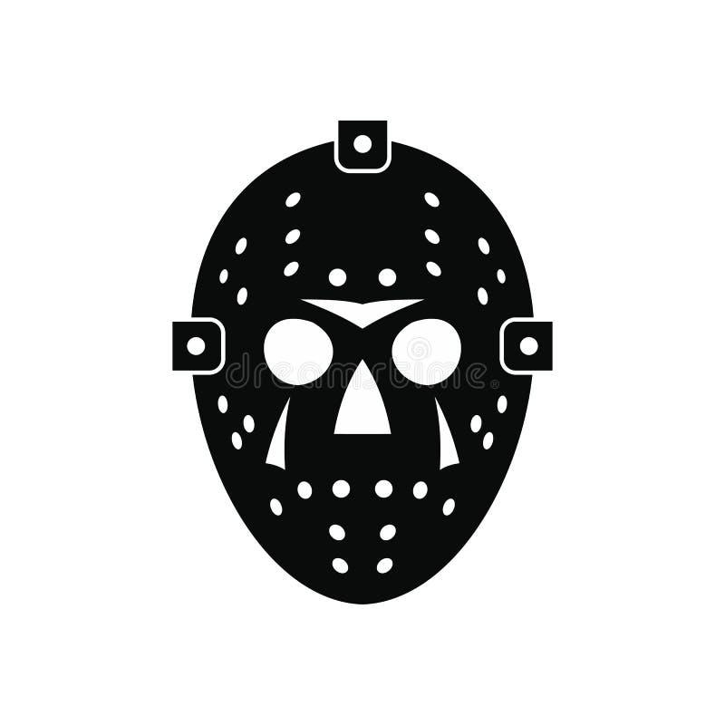 Halloweenowego hokej maski czerni prosta ikona royalty ilustracja
