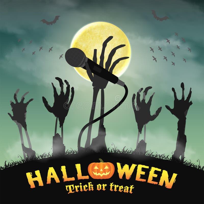 Halloweenowego karaoke mikrofonu żywego trupu zredukowana ręka ilustracja wektor