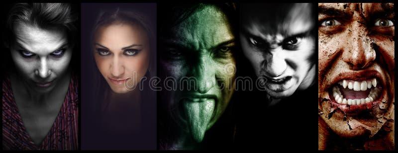 Halloweenowego kolażu †'złe straszne twarze kobiety i mężczyzna zdjęcia royalty free
