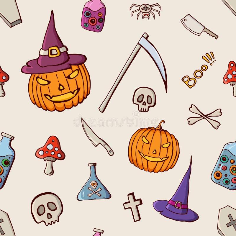 Halloweenowego koloru bezszwowy wzór Ręka rysujący doodle kreskówki elementy Halloweenowy świętowanie ilustracja wektor