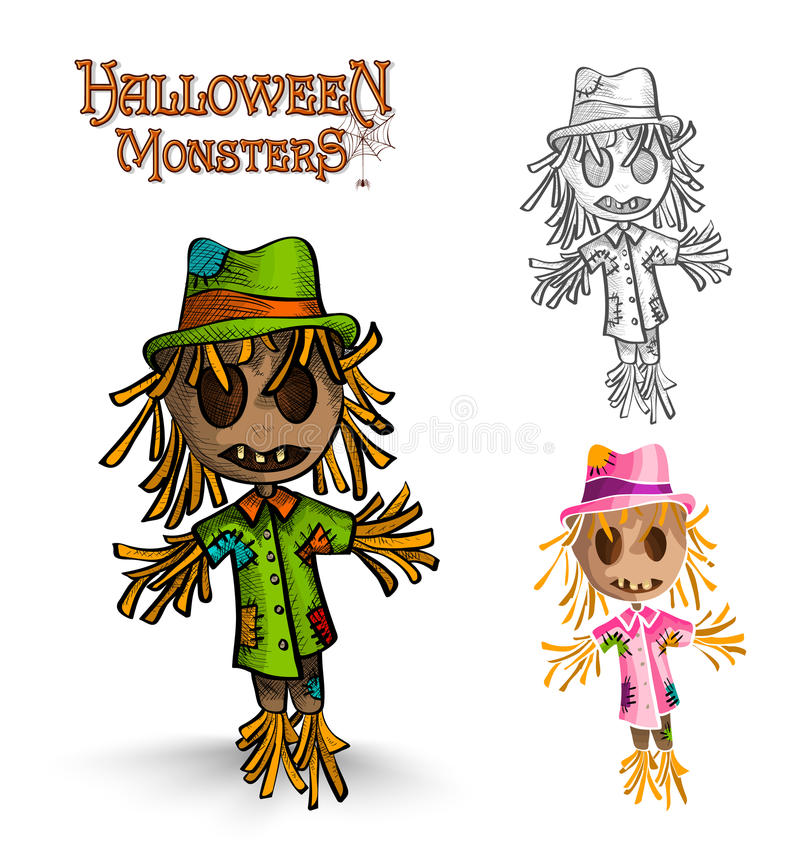 Halloweenowego potwora strach na wróble ilustraci EPS10 straszna kartoteka. royalty ilustracja