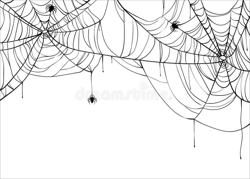 Halloweenowego spiderweb wektorowy tło z pająkami, kopii przestrzeń Pajęczyny tło odizolowywający na bielu royalty ilustracja