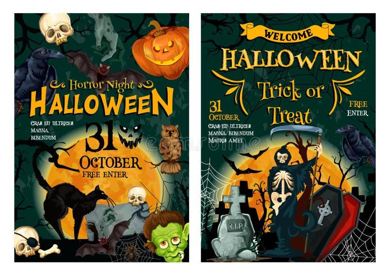 Halloweenowego wakacyjnego horroru przyjęcia powitalny sztandar ilustracji