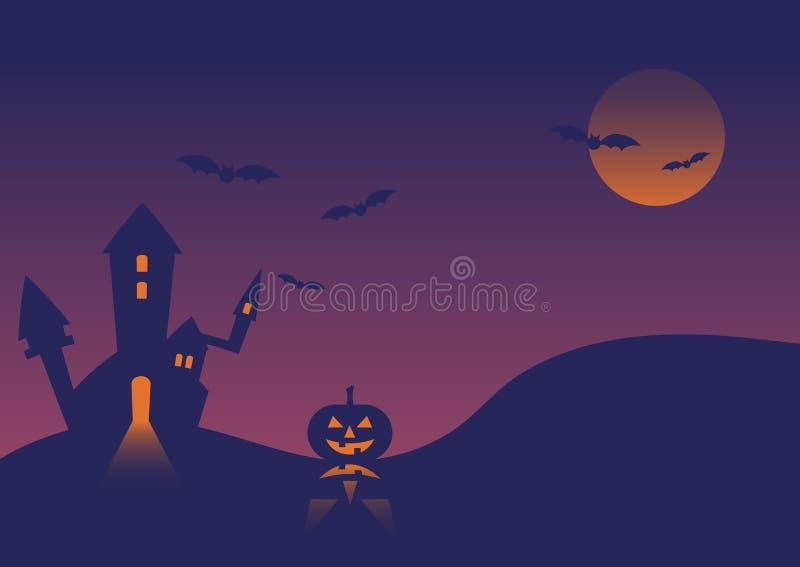 Halloweenowego wydarzenie kasztelu tła dyniowa ilustracja royalty ilustracja