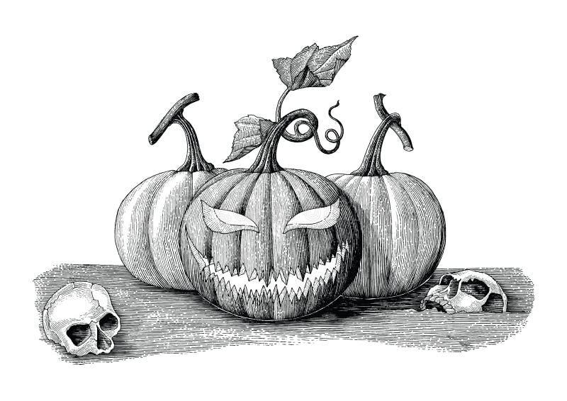 Halloweenowej dnia pojęcia ręki rocznika rysunkowy styl z ludzkim skul ilustracja wektor