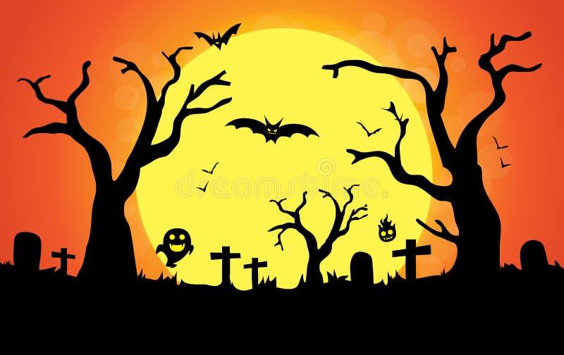 Halloweenowej nocy duża księżyc ilustracji
