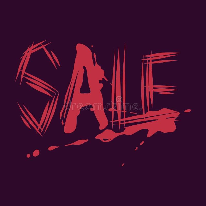 Halloweenowej sprzedaży krwisty i porysowany typografia projekt dla sztandaru ilustracja wektor