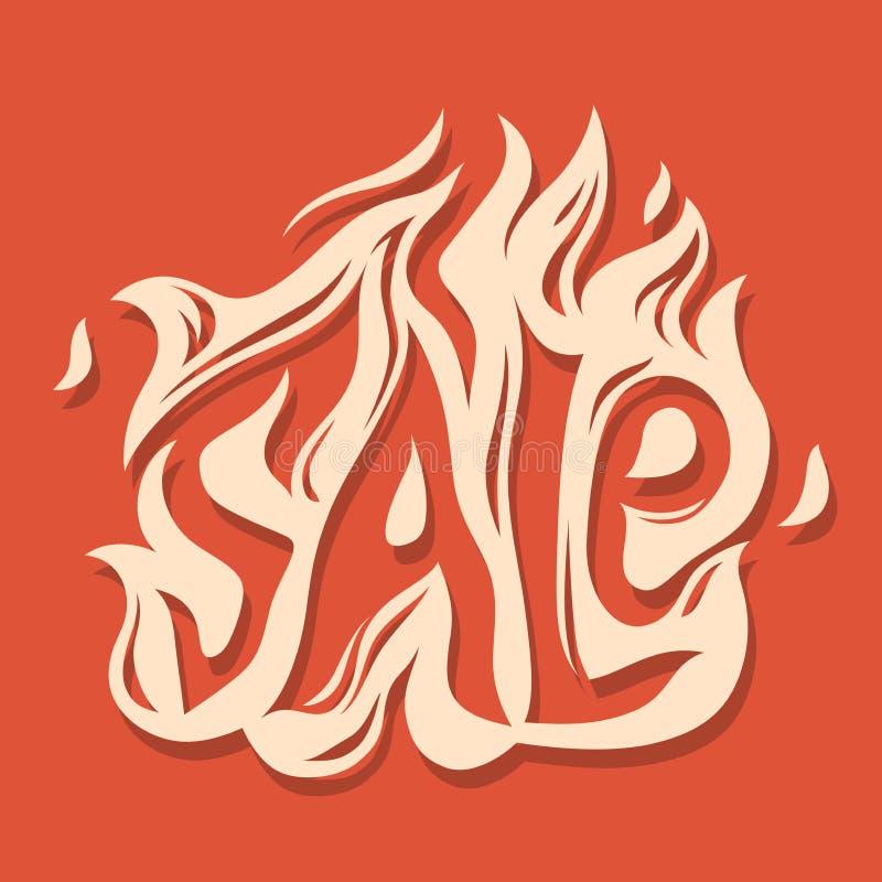 Halloweenowej sprzedaży typografii ognisty projekt dla sztandar reklamy royalty ilustracja
