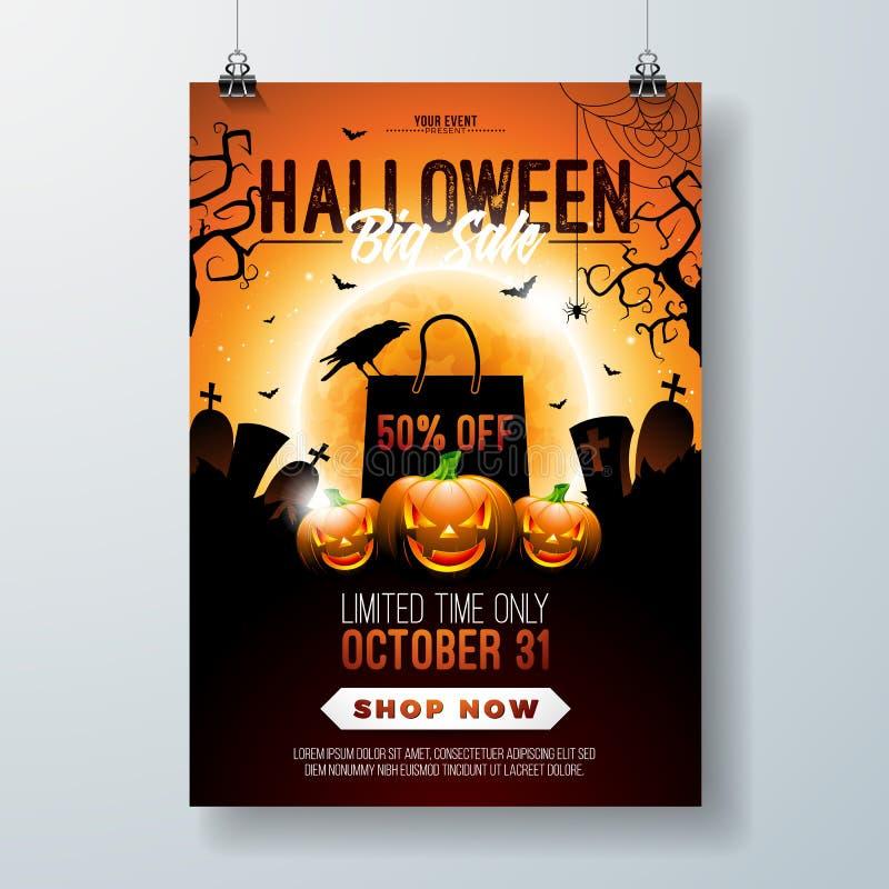 Halloweenowej sprzedaży ulotki wektorowa ilustracja z banią, księżyc, wroną, nietoperzami i cmentarzem na pomarańczowym nieba tle ilustracja wektor