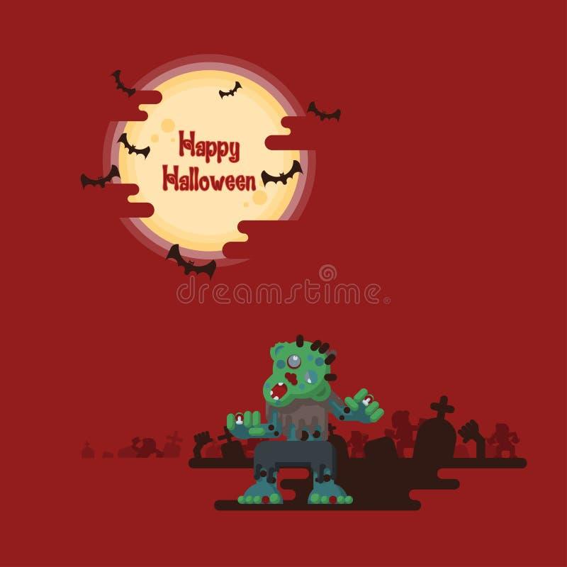 Halloweenowi żywi trupy chodzi pod księżyc ilustracja wektor