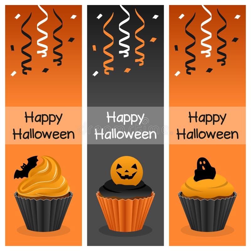 Halloweenowi babeczki Vertical sztandary ilustracja wektor