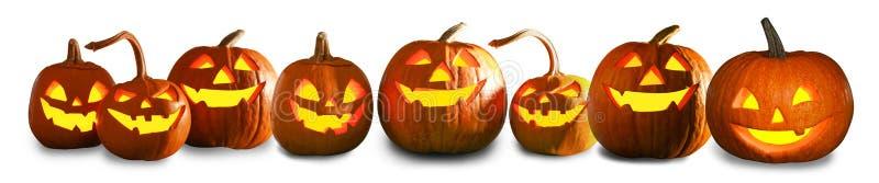 Halloweenowi bani głowy dźwigarki lampiony ilustracja wektor