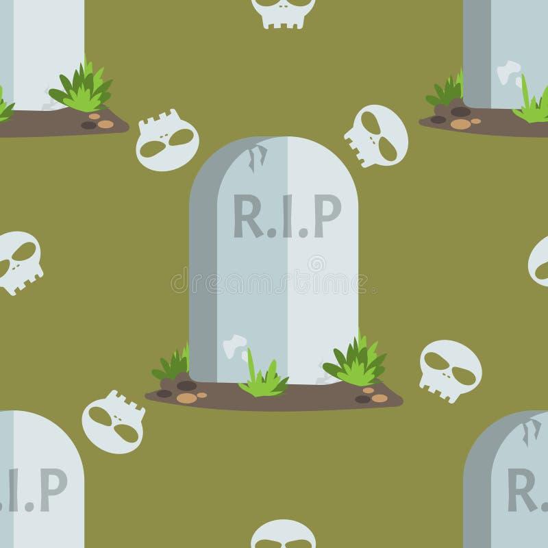 Halloweenowi bezszwowi deseniowi nagrobki z R Ja P tekst ilustracja wektor