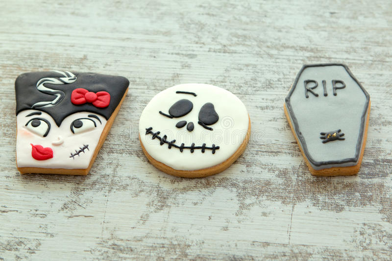 Halloweenowi ciastka z różnymi kształtami obraz stock