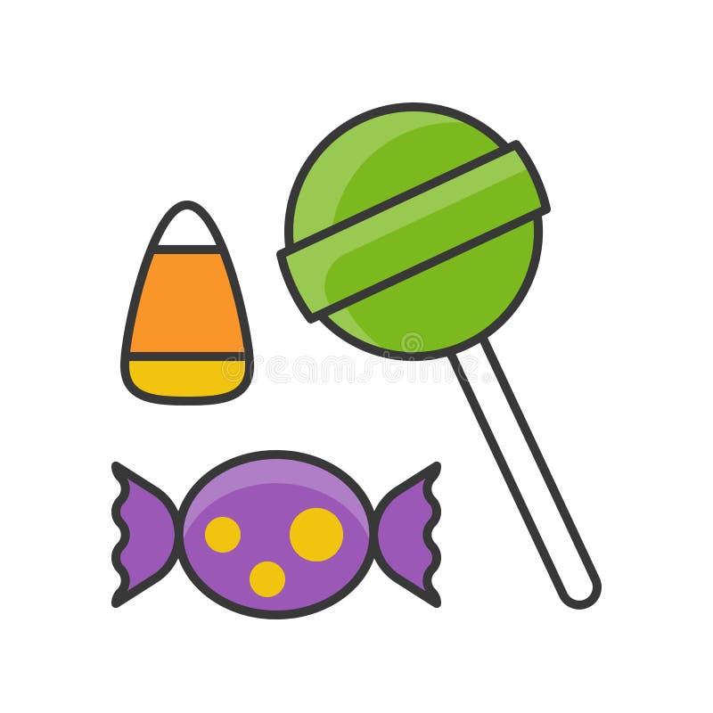 Halloweenowi cukierki i cukierek, wypełniający kontur ikony editable uderzenie ilustracji