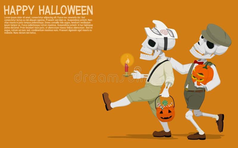 Halloweenowi czaszek dzieci royalty ilustracja