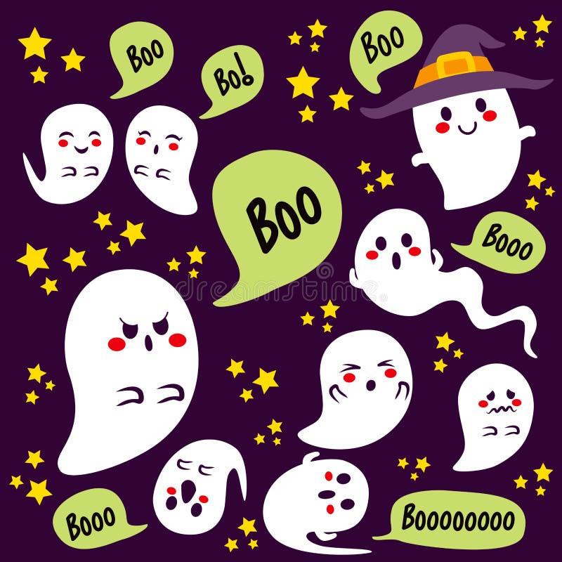 Halloweenowi duchów charaktery royalty ilustracja