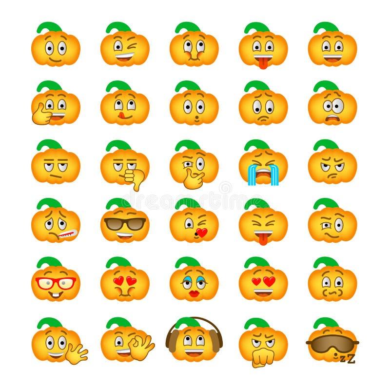 Halloweenowi dyniowi emoji emoticons ilustracja wektor