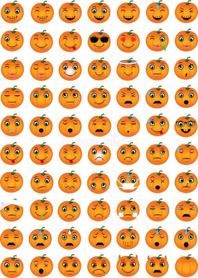 Halloweenowi dyniowi emoticons royalty ilustracja