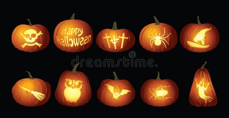 Halloweenowi Dyniowi lampiony przy nocą ilustracja wektor