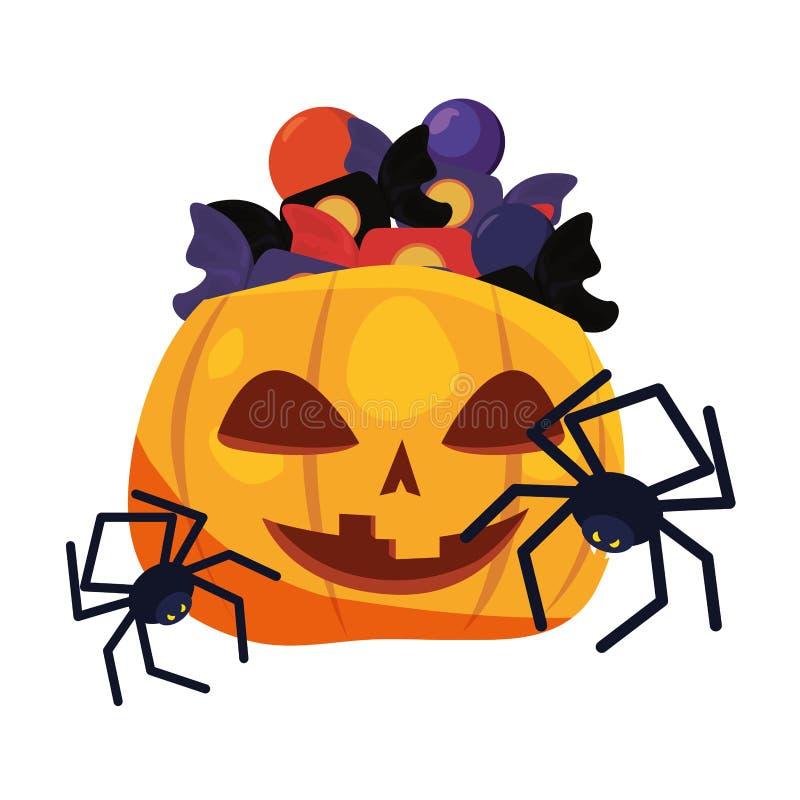 Halloweenowi dyniowi pająki i cukierki royalty ilustracja