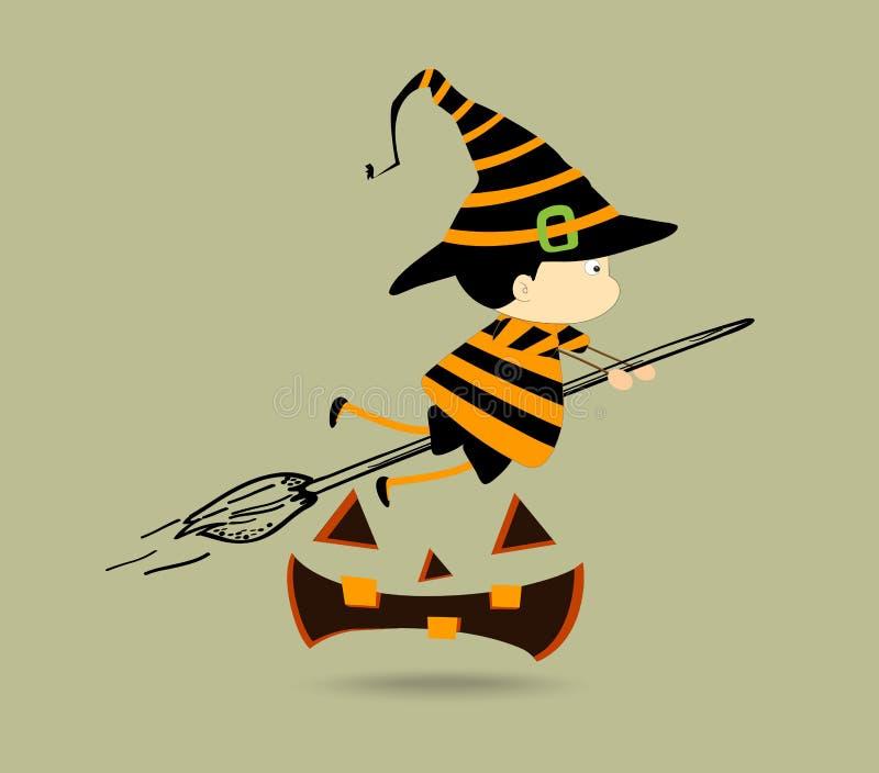 Halloweenowi dzieciaki Czarownicy dziewczyna charakter ilustracja wektor