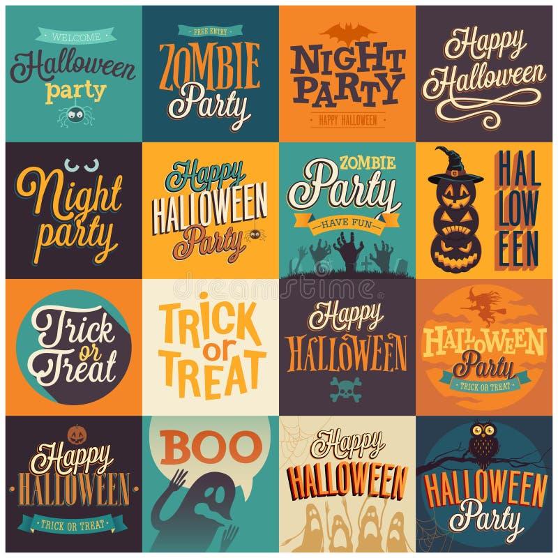 Halloweenowi emblematy ustawiający ilustracja wektor