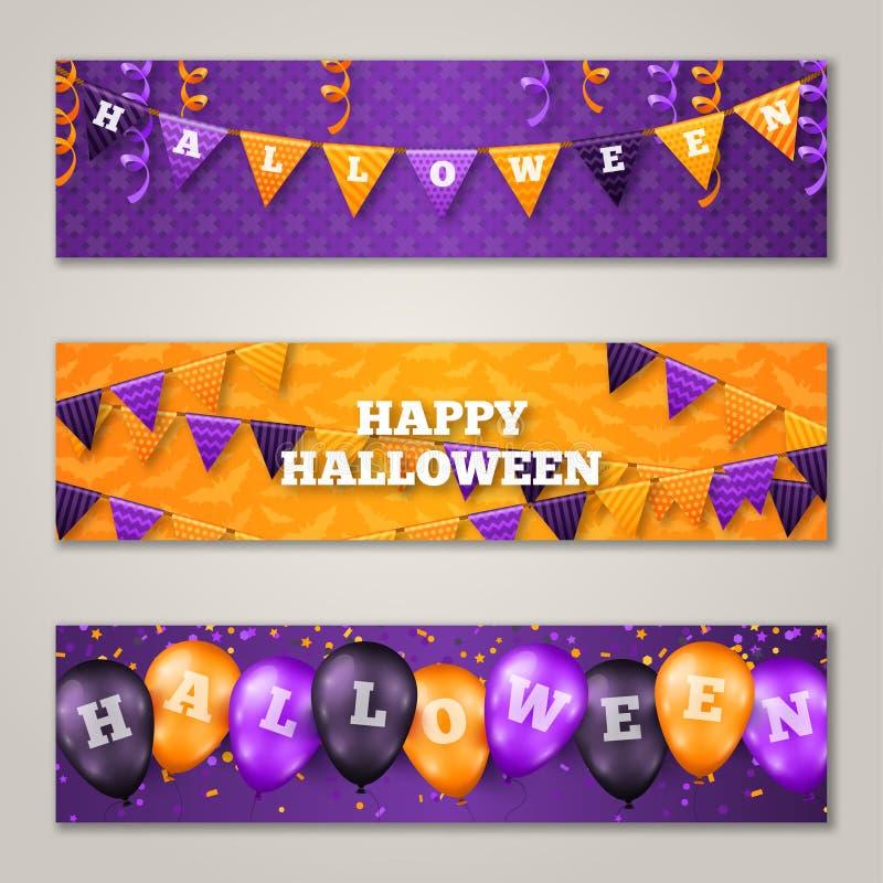 Halloweenowi Horyzontalni sztandary, balony i flaga, ilustracja wektor
