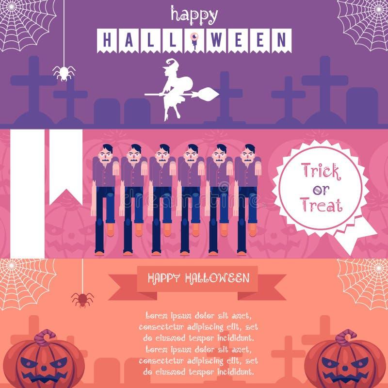 Halloweenowi horyzontalni sztandary ustawiający z tradycyjnymi symbolami wakacje w płaskiej wektorowej ilustraci ilustracja wektor