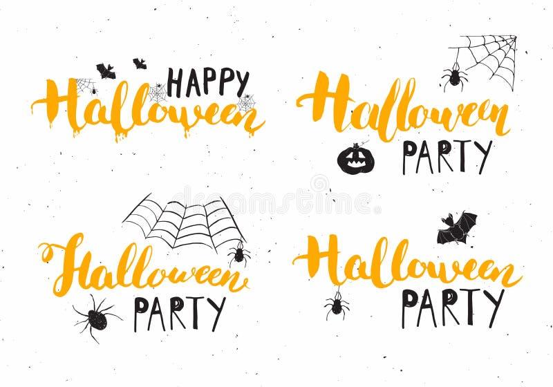 Halloweenowi kartka z pozdrowieniami ustawiający Literowanie kaligrafii znak, ręka rysujący elementy, partyjny zaproszenie i waka royalty ilustracja
