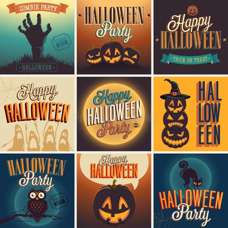 Halloweenowi plakaty ustawiający. royalty ilustracja