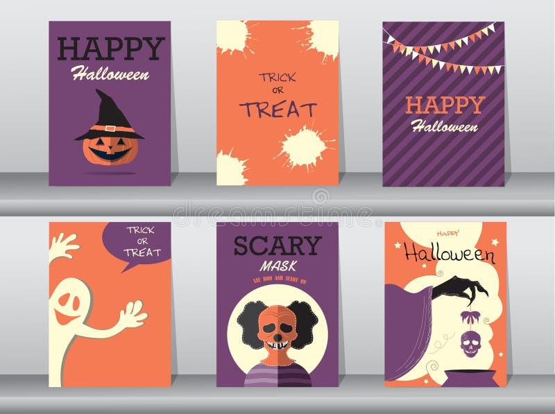 Halloweenowi plakaty ustawiający również zwrócić corel ilustracji wektora ilustracja wektor