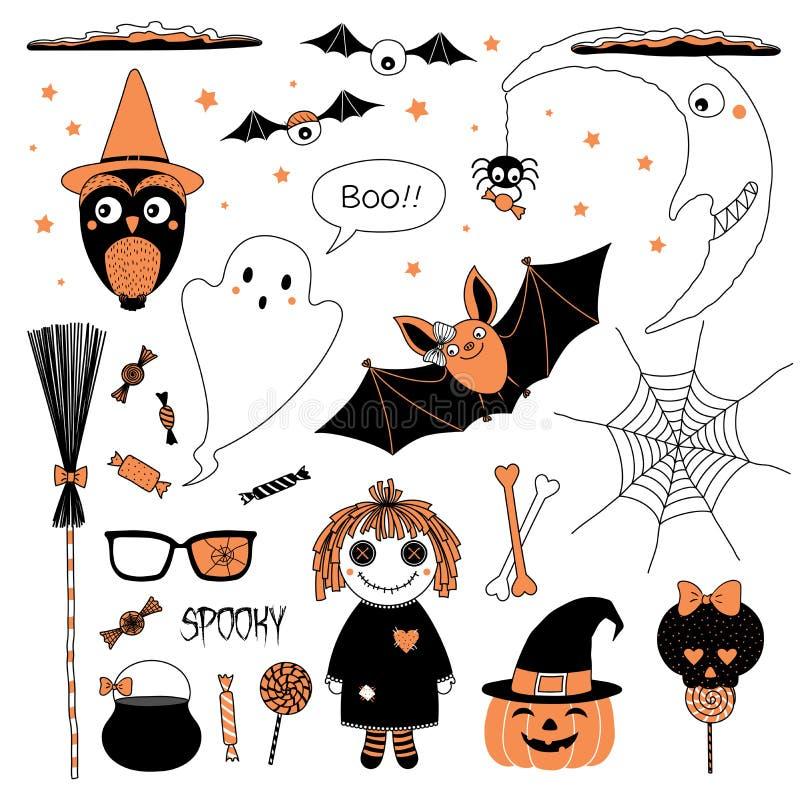 Halloweenowi projektów elementy inkasowi royalty ilustracja