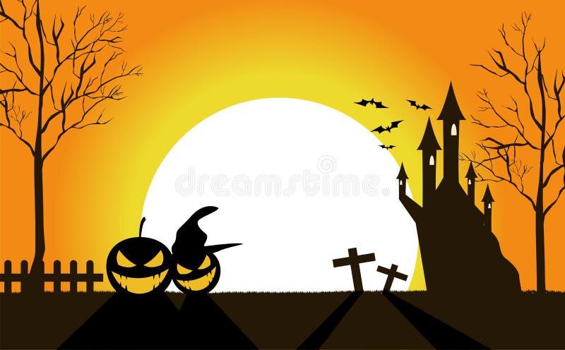 Halloweenowi pumkins przy noc wektorem royalty ilustracja