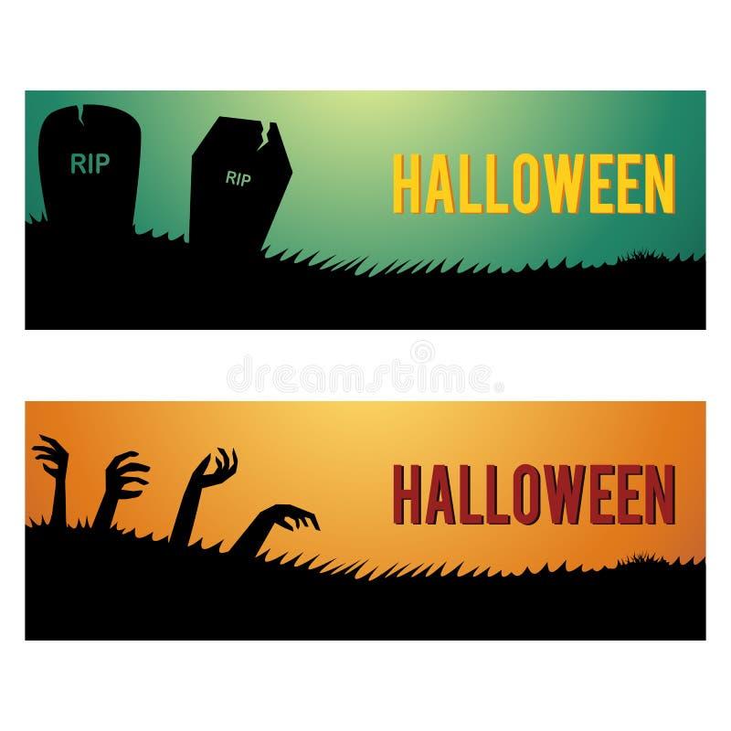 Halloweenowi sieć sztandary, chodnikowowie i ilustracja wektor