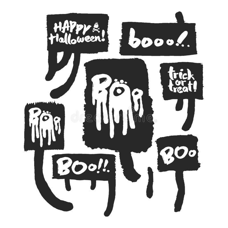 Halloweenowi slogany w mowa bąblach royalty ilustracja