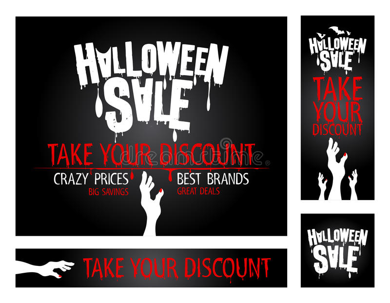Halloweenowi sprzedaż sztandary. ilustracja wektor